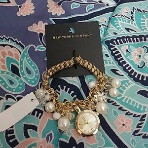 NY & Co. Gold & Pearl Charm Bracelet Watch